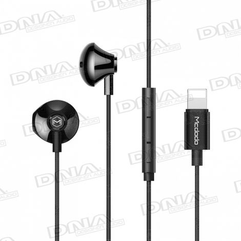 Mcdodo Lightning Direct In-Ear D-Shaped Headphones with Inline Mic and Volume Control – Black