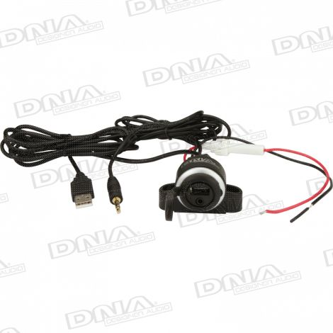 Flush Chassis Mount 3.5mm Stereo Socket and USB to 3.5mm Stereo Plug and USB Audio Data Lead