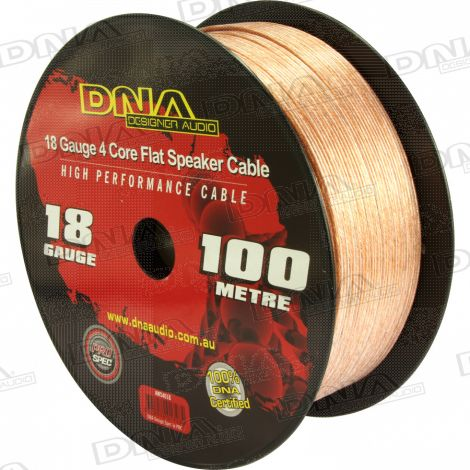 4 Core Flat 18 Gauge Speaker Cable - 100 Metres