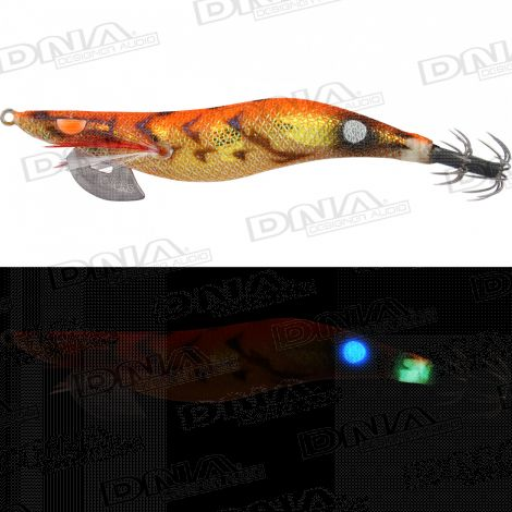 Clicks 3.5 Size Squid Lure Colour 062 - Orange Trick Shrimp / Blue Glow Dot