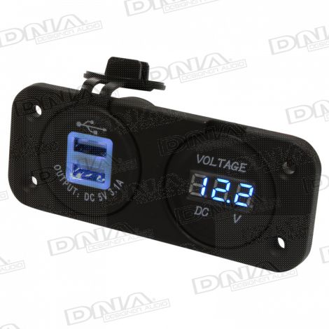 Heavy Duty Twin Dual USB & Volt Meter