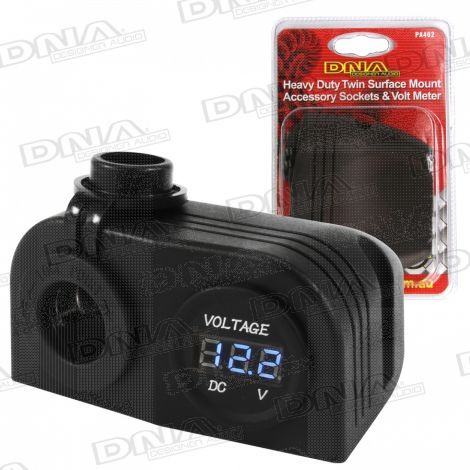 Heavy Duty Twin Surface Mount Accessory Socket & Volt Meter