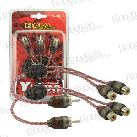 Y Split 1 Male To 2 Female Pro Spec RCA 1 Pair - Red