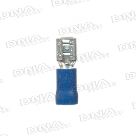 4.8mm Blue Female Uninsulated Spade Crimp Terminals 100 Pack